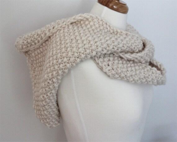 KNITTING PATTERN Hooded Infinity Scarf PDF knitting pattern