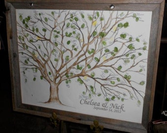 Small: (Chelsea and Nick) Canvas Wedding Tree intended for Gallery Wrap for Up to 150 guests 16'' x 20'' plus poem