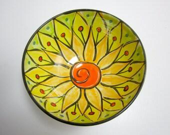 Ceramic Serving Bowl - Pottery Clay Bowl -  Majolica Pottery - Kitchen Bowl - Orange Yellow Lotus Flower - Medium Sized Bowl