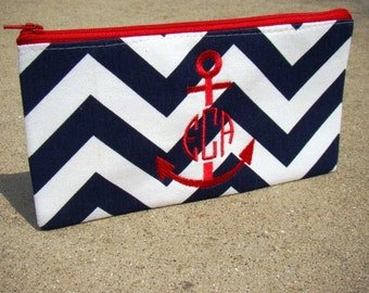 Navy Chevron Monogrammed Clutch, Bridal clutches, Bridesmaid gift, Wedding gift, Nautical clutch, Personalized gift, Nautical Bag, Vintage