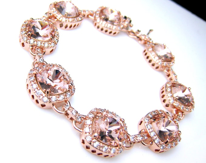 wedding bridal jewelry christmas gift bridesmaid party pageant rose gold pink vintage rose cushion cut swarovski rhinestone bracelet square