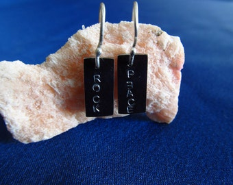 Peace and rock earring sterling silver or customized