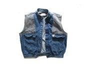 vintage mens vest denim jean patchwork 1980's clothing size extra large xl