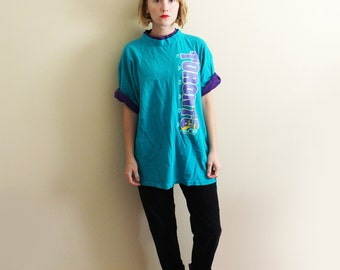 vintage t-shirt 90's zack morris Toronto Canada teal green purple 1990s mens clothing size large l