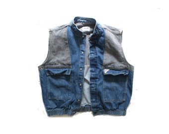 vintage mens vest denim jean patchwork 1980's clothing size extra large xl