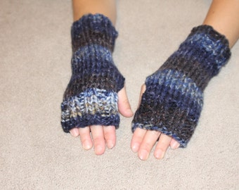 Hand Knit Bulky Fingerless Mittens/Texting Gloves - Stormy Blue Heavy Weight Mittens