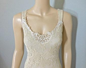 SALE Simple Wedding Dress Vintage inspired Lace Gown RUSTIC Lace Wedding Dress  BOHEMIAN Lace Dress Handmade Sz Medium
