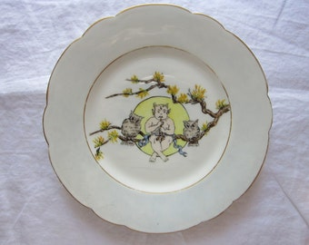 vintage hand painted plate - IMP and OWLS - fairy, pixie, owl plate - marked H & Co L - Haviland Limoges