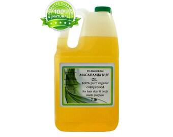 7 LB  Macadamia  Nut  Oil Cold Pressed ORGANIC 100% PURE