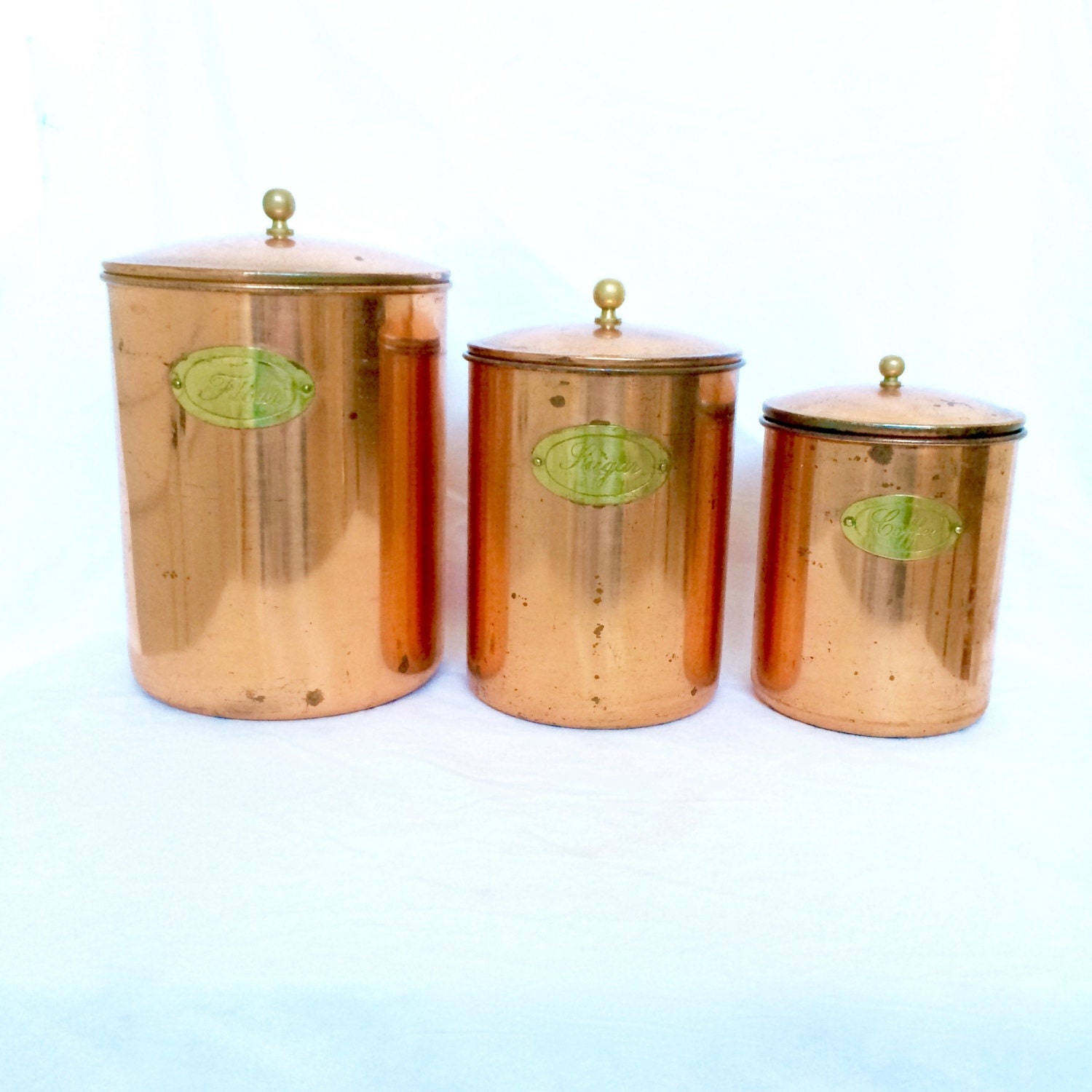 copper canisters flour sugar coffee with by ellasatticvintage. Black Bedroom Furniture Sets. Home Design Ideas