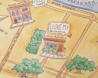 Custom Painted LOVE Story MAP, Original Painting and Printable File, Anniversary, Engagement, Wedding