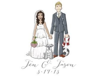WEDDING Guest book Alternative, Custom Illustrated BRIDE and Groom, Alternative Guest Book, Wedding Keepsake