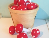 Whimsical Red Felt Mushrooms- set of 4