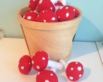 Whimsical Red Felt Mushrooms- set of 4
