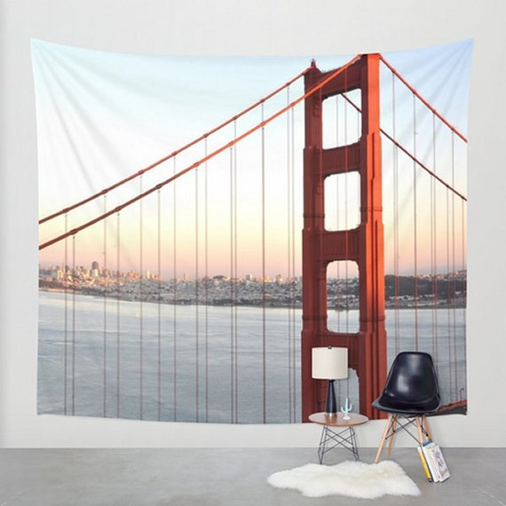 red wall hanging golden gate bridge wall by. Black Bedroom Furniture Sets. Home Design Ideas