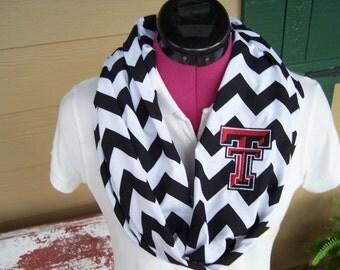 Texas Tech Black and White Chevron Infinity Scarf