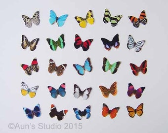 S A L E  25 Small Paper Butterflies, Realistic 1 inch Paper Butterflies  S A L E