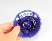 Ceramic ring holder dish, stoneware ring holder, pottery ring holder, pottery ring bowl with stars and LOVE letters blue glaze