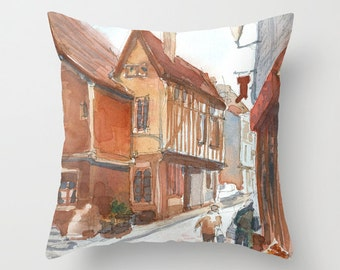English Street Watercolor Painting Throw Pillow Cover