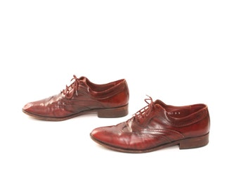 womens size 10 OXFORD oxblood leather 80's WINGTIPS lace up dress shoes made in ITALY