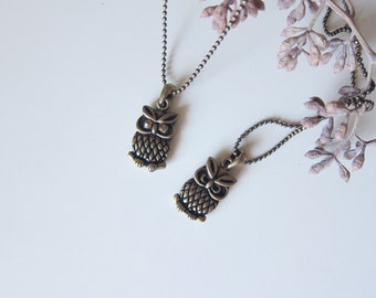 Double Sided Owl Necklace-ON SALE
