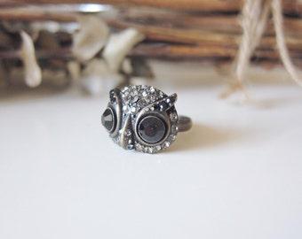 Miss Black Owl Ring