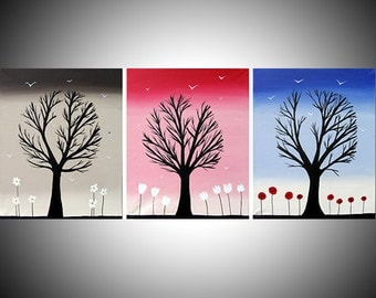 """triptych Wall canvas bird art painting 3 panel """"Colours"""" TRIPTYCH 3 three panel art Abstract large huge wall 48 x 20 inches"""