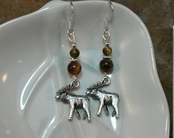 Silver Moose Tigereye Brown Sterling Silver Earrings, Brown Tigereye Silver Moose Sterling Earrings, Silver Moose Earrings