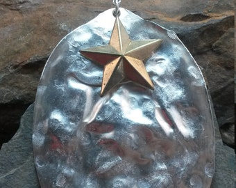 Antique Silver Hammered Spoon and Gold Star Silverware Pendant, Silverware Pendant, Antique Silver Metal Pendant