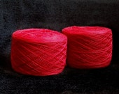 Bright red color lace weight merino yarn for lace knitting or Haapsalu shawl knitting, measure 2/28, 100 grams (1526yard)