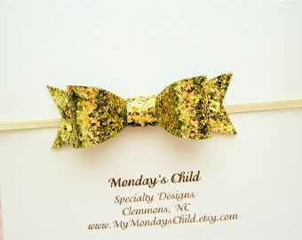 Gold Bow Headband, Gold Baby Bow Headband, Gold Baby Bow, Gold Baby Headband, Mini Bow Headband, Gold Glitter Bow, Baby Headband Toddler Bow