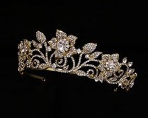 Vintage GOLD Rhinestone Tiara Crown