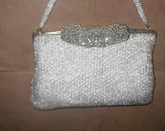 Collectible Vintage SILVER Beaded Evening Bag Purse