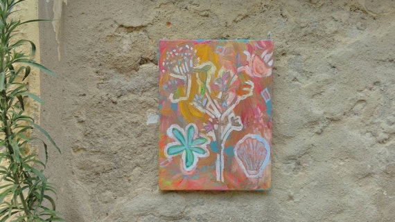 Original Painting Acrylic Sea Shell and Flowers Signed Floral