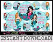 """Mermaid Kisses - INSTANT DOWNLOAD 1"""" Bottle Cap Images 4x6 - 823"""