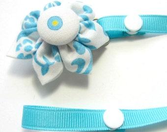 Kanzashi Flower Pacifier Clip, Baby Pacifier Clip, Dummy Clip, Pacifier Holder, Girl Pacifier Clip