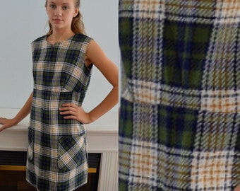 Vintage Blue and Green Plaid Dress, Jumper Dress, Vintage Dress, 1960s Dress, Plaid Dress, Casual Dress, Fall, Winter Dress