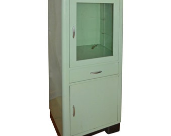 Mid Century Dental Medical Cabinet in Jadeite Green Enamel with Chrome
