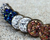 Fake Plugs Earrings - Druzy Faux Plugs - Fake Gauges - Blue Druzy Plugs - Fake Ear Gauges - Galaxy Earrings - Nickel Free Stud Earrings