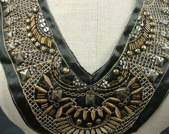 Neckline Applique Embellishment Necklace Brown Satin Fabric Silver Tone Metallic Thread Silver Sequins Square Beads S116