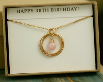 Opal necklace gold, 30th birthday gift, October birthstone necklace, pink opal jewelry for new mom necklace - Lilia