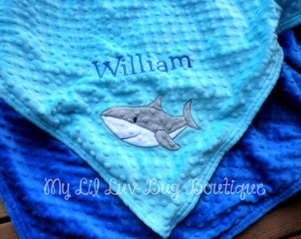Personalized name baby Blanket- shark baby blanket- turquoise and cobalt blue shark- baby stroller blanket