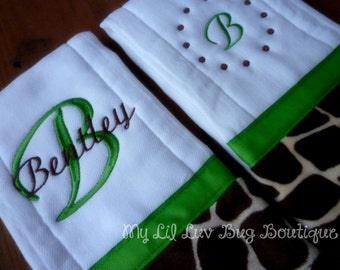 Personalized Burp cloths set of two prefold diaper-  with Giraffe print minky- baby burp cloth lime green