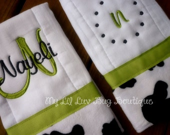 Personalized Burp cloth set- green apple and black cow print minky- baby burp cloth prefold diaper chartreuse