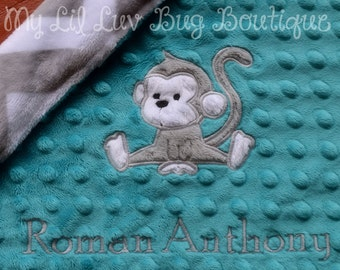 Personalized minky baby blanket- teal and grey monkey with chevron- lovey blanket
