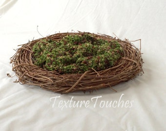 OOAK Mossy Green Brown Texture Baby Photo Prop in Forest Path colors