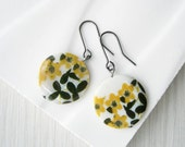 Yellow Drop Earrings Mother of Pearl Jewlery, Ivory, Cottage Chic, Floral, Flowers, Black Dangle, Silver