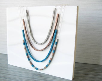 Contemporary Jewelry - Metallic Necklace, Sterling Silver, Minimalist, Copper, Bronze, Gold, Mixed Metal Blue, Delicate, Hematite, Dainty