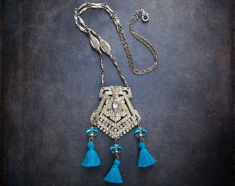 Vintage Assemblage Rhinestone Shoe Buckle Pendant Necklace with Aqua Crystals and Aqua Cotton Tassels