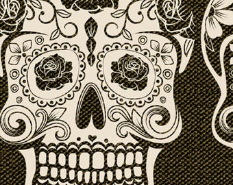 Calavera from David Textiles - Full or Half Yard Day of the Dead Skulls in Black and Cream and Pink, Blue Yellow